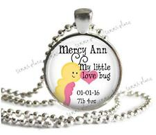 "Personalized New Baby Girl Pendant & 24"" Ball Chain Little Love Bug Mom Gift"