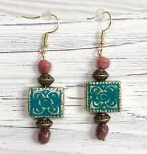 Handmade Boho Earrings Dangle Gold Square Aqua Floral Pink Gemstone Metal US