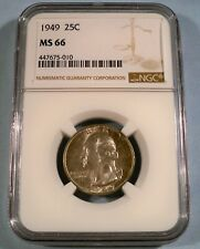 1949 NGC MS66 WASHINGTON QUARTER 25c MS 66