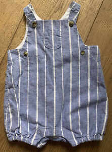 Janie And Jack Baby Boy Summer Romper With Blue Stripe Chambray , 3-6 Months