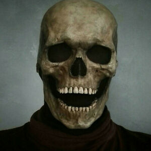 Halloween Party Full Head Fake Skull Helmet With Movable Jaw Prop Latex Headgear