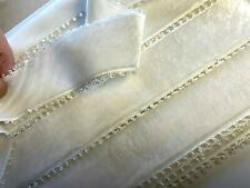 "Vintage Picot Velvet Edge Ribbon Rayon Made in France 1.5""  1yd Ivory Cream 38mm"