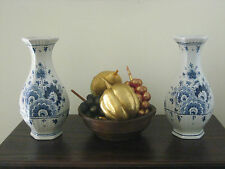 Pair Of Large Vintage Delft Vases Blue & White Hand-Painted & Marked