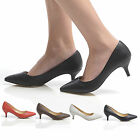 NEW WOMENS LOW HEEL KITTEN WORK OFFICE SHOES POINT TOE CASUAL FORMAL LADIES