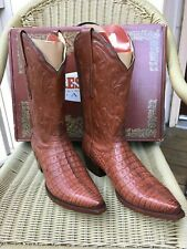 Men's Resistol Ranch Lucchese Brown Caiman Western Boots, 12D, M3173 New in Box