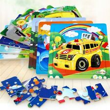16PCS Puzzles Car Transportation Wooden Toddler Children Learning Education Toy