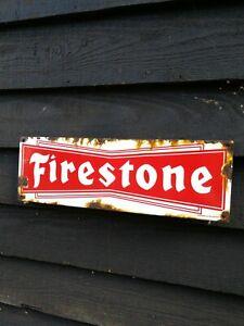 FIRESTONE ENAMEL SIGN garage vitreous porcelain tyres garage sign tires