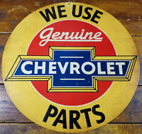 "WE USE GENUINE CHEVROLET CAR PARTS 14"" ROUND HEAVY DUTY METAL ADVERTISING SIGN"
