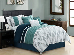 7 Striated Embroidery Chevron ZigZag Comforter Set Cal-King Navy Blue Teal Green