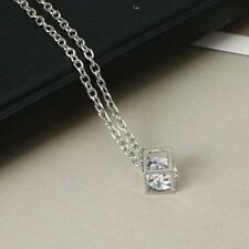 #7071 Fashionable Love Cube Three-dimensional Necklace Silver Shiny Necklace