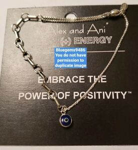 Alex and Ani Evil Eye Pull Chain Bracelet Sterling Silver - Rare