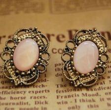 Ohrstecker gothic vintage-stil  rosa altgoldfarben ornament filigran 066