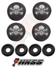 4 Black Custom License Plate Frame Tag Screw Cap Covers - SKULL AND BONES M3G