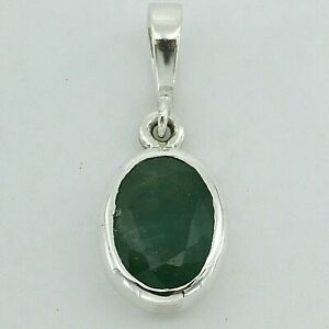 Genuine and Natural Green Oval EMERALD Pendant - 925 STERLING SILVER #21