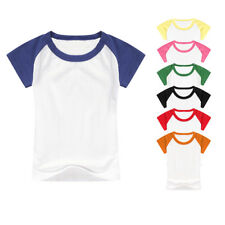 Kid Boy Girl Sportswear Short Sleeve Baseball Tee Two Tone Jersey Raglan T-Shirt