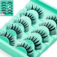 Pro Natural Long Black Handmade 5 Pairs Thick Makeup Fake Eyelashes False Lashes