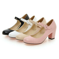 Women Chunky Block Heel Mary Jane Shoes Round Toe Sweet Ankle Strap Dress Pumps