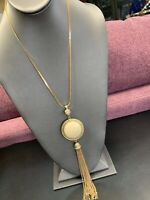 """Vintage Pretty AB CRYSTAL WHITE  Pearl Tassel Pendant Necklace Gold Chain 20"""""""