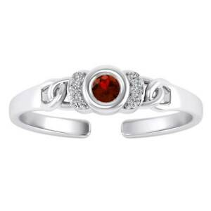 14K White Gold Fn Round Cut Red Ruby Adjustable Toe Ring Daily Wear Gift