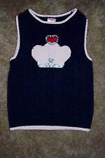Girls Gymboree Navy Sweater Vest with Crown Design Size 3