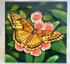 YH ARTS PORCELAIN DISPLAY TILE PLAQUE, TRIVET OR TEAPOT STAND - YELLOW BUTTERFLY