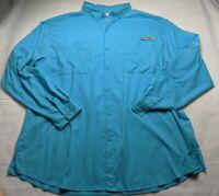 Mens Columbia Size XXL Omnishade PFG  Fishing Shirt - Long Sleeve - Light Blue