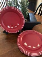 "Target Threshold Christmas 9"" Plates Red Santa Reindeer SET OF 4 🌲"