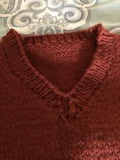 Vintage hand knit cardigan sweater Rust Color.