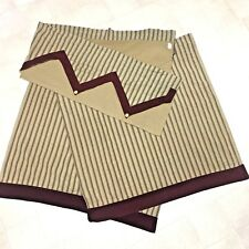 Padma Tier Curtain Set 3 piece 5 Point Valance 2 Panel Striped Ticking Wine Tan