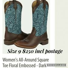 Noble Outfitters Womens Leather Cowboy Western Boots Floral Brown Blue Size 9.5