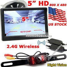 "Wireless 5"" TFT LCD Car Monitor +7LEDs IR Night Vision Rear View Revering Camera"