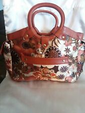 Brown & Gold Floral Satin Purse. Leather Trim & Handles. New No Name