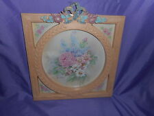 Vtg Homco Home Interior Pink Frame W/Bow Rose Flowers Picture # 3539 Ava Freeman