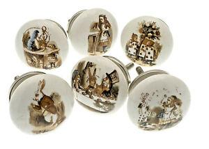 Set of 6 Alice in Wonderland Vintage Style Ceramic Cupboard Knobs in Colour 38mm