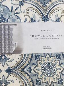 Envogue Blue Tan Medallion Tile Cotton Fabric Shower Curtain