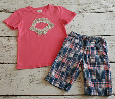 MINI BODEN Boys Red Pink Shark Tooth Tee and Plaid Shorts 7 8 7-8 VGUC