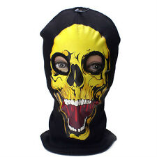 Yellow Skull Beanie Full Face Mask 2 Hole Shield Winter Ski Knit Cap Hat #23