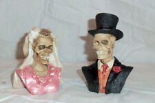 Bride and Groom Skull Figural Bust Halloween Day of the Dead 1996 n Original Box