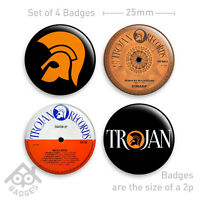 Trojan Record Labels Logo Ska Skinhead Rude Boy Badge - Set of 4 x 25mm Badges