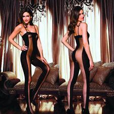 Sexy Women Black Sun-top Slinky Sheer Full Body Stocking Legging Jumpsuits New