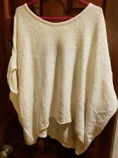 Free People Wool Angora Scoop Neck Pattern Knit Sequin Poncho Sweater Ivory Sz L