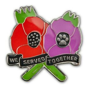 We served together Animals at war enamel NEW pin badge 2021 purple poppy