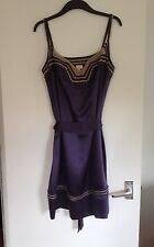 BNOWT Stunning Ladies Whistles Purple 100% Silk & Crochet Tie Belt Dress-Size 12