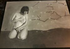 Original 18x24in charcoal drawing of nude latin woman done by ARTuro