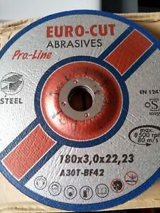 Euro Cut 180mm x 3mm Pro Metal Depressed Centre Cutting Discs Pack of 25 or 50