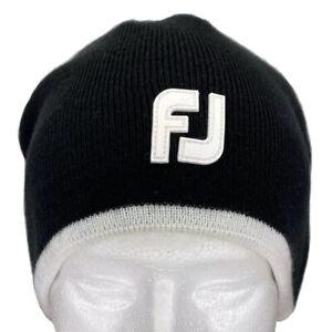 FootJoy Golf Winter Golf Beanie Hat Cap Black W/ White Trim & Logo OSFM