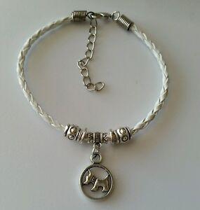Retro Fashion Women Men's White Leather Bracelet Dog Dangle Charm Jewelry US