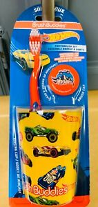 Hot Wheels Cars Brush Buddies Toddler Childs Toothbrush Cover Cup Set Soft New
