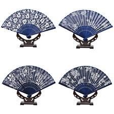 1pc Chinese Hand Held Fan Silk Flower Blue Color Folding Fan Wedding Decor