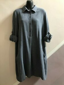 LADIES BLUE GREY WOOL MIX SHIRT DRESS BY ZARA SIZE LARGE 12-14 UK